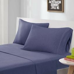 Modern Navy Blue Cotton Blend Jersey Knit Sheet Set - ALL SI