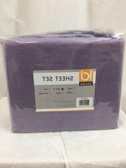 Modern Purple Cotton Blend Jersey Knit Sheet Set - Twin XL
