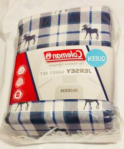 Queen Sheet Set Moose Elk Plaid Jersey Blue White Coleman Be