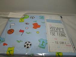 New # Bedtime VARSITY ALL SPORTS Twin  Sheet Set ~ Jersey, F