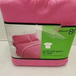 New Pink Solid Cotton 3PC XL Twin JERSEY Sheet SOFT Set Deep
