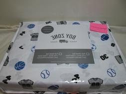New Boy Zone Twin Sheet Set ALL SPORTS JERSEY & NUMBERS ~ Bl