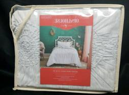 Opalhouse Target WHITE Ruched Jersey Duvet Set Twin/ Twin XL