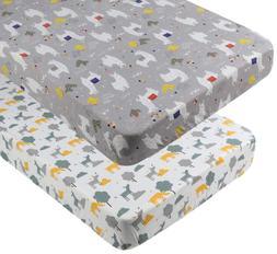 Pack n Play Playard Sheet Set 2 Pack 100% Jersey Knit Cotton