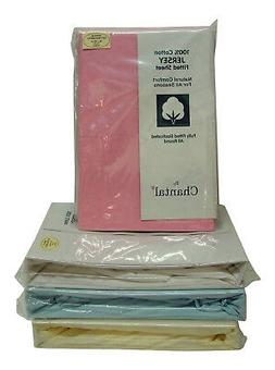 Single Bed Soft Cotton Jersey Fitted Sheet Blue Cream Pink W