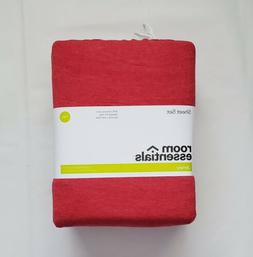 Room Essentials Solid Jersey TWIN Sheet Set Heather Red, Nev