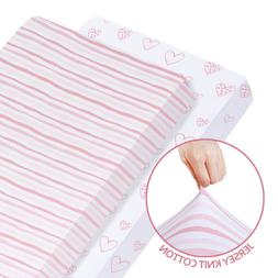 Stretchy Fitted Standard Crib Sheet 100% Jersey Knit Cotton