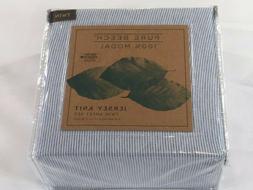 twin jersey knit sheet set blue stripe
