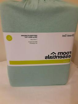 Twin sheet set XL room essentials Jersey Aqua Green