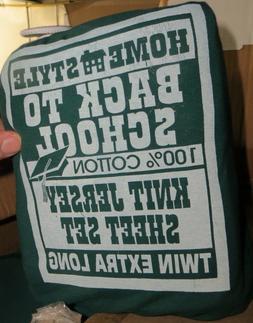 Twin XL Green Sheets & Pillow Case Dorm Size Jersey Knit Sha