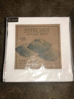 Pure Beech XL Twin Jersey Knit Sheet Set - White