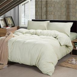 Yarn Dyed Green Striped Cotton Jersey Duvet Covers Fitted Sh